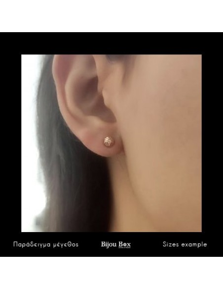 """Stud silver earrings """"HILIO"""" rose gold plated 2"""