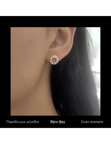 Stud silver earrings LUNIK 2