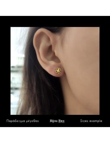 Stud silver earrings gold plated CLOVERLEAF I 2