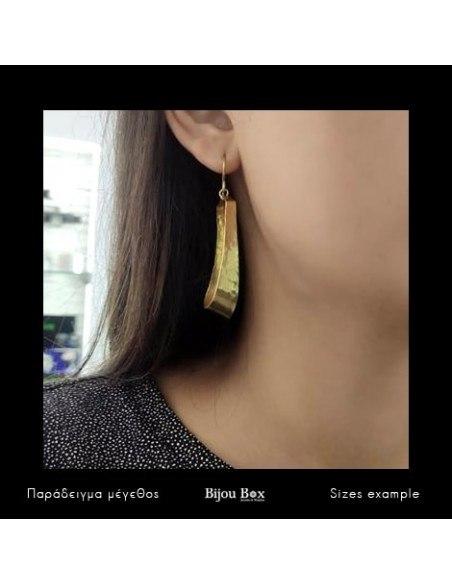 Μακριά σκουλαρίκια από μπρούτζο χειροποίητα χρυσό IFILI 2
