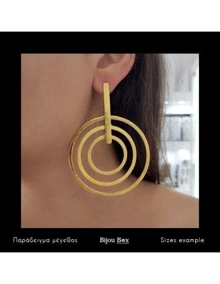 Σκουλαρίκια από μπρούτζο χειροποίητο χρυσό HURA 2