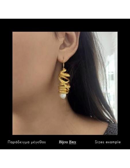 Σκουλαρίκια με μαργαριτάρι χειροποίητα χρυσό AURORA 2