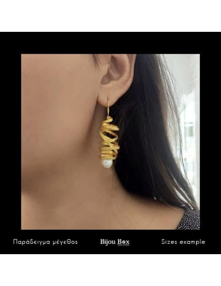 Perlen Ohrringe aus Bronze handgefertigt gold AURORA 2