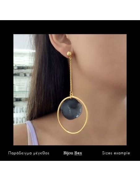 Long earrings of bronze handmade gold black HIER 2