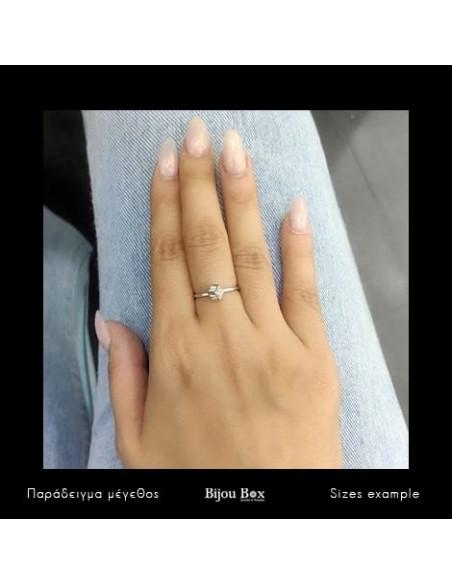 Δαχτυλίδι με ζιργκόν ασημί DICE 2