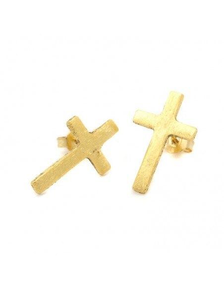 Σκουλαρίκια καρφωτά με σταυρός χρυσό AGIO II