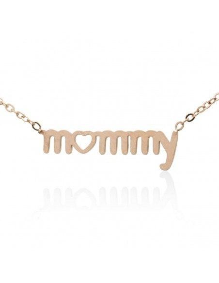Halskette Mommy - Mama aus Edelstahl rosegold JIOP