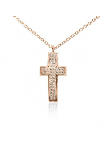 Cross Necklace of stainless steel with crystals rose gold OLIVIA