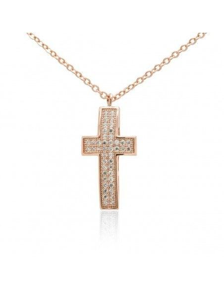 Kreuzkette aus Edelstahl mit Zirkonen rosegold OLIVIA