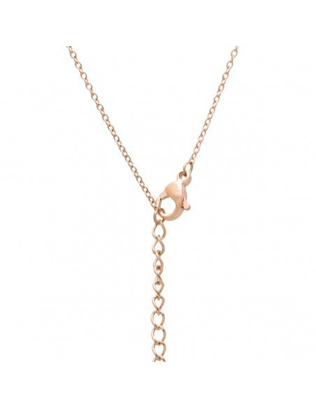 Cross Necklace of stainless steel with crystals rose gold OLIVIA 3