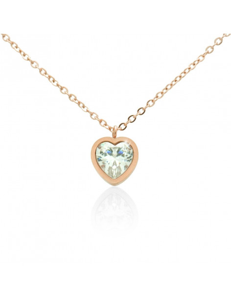 Necklace with heart and crystal of stainless steel rose gold HALG