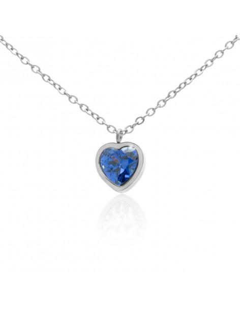 Κολιέ με καρδιά και μπλε ζιργκόν από ατσάλι ασημί HALG