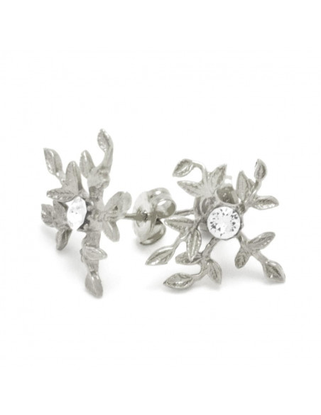 Stud Earrings with crystals silver CERES 3
