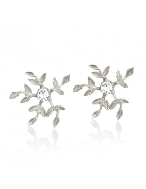 Stud Earrings with crystals silver CERES