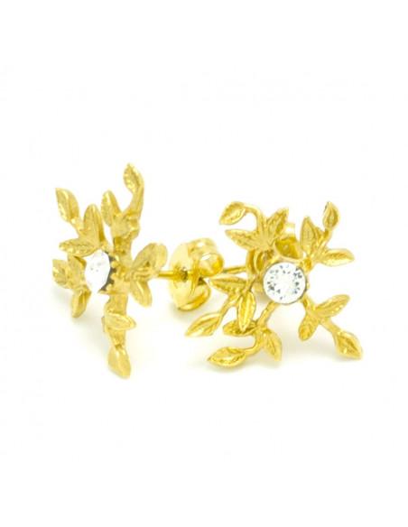 Σκουλαρίκια καρφωτά από μπρούτζο χειροποιητο χρυσό CERES 2
