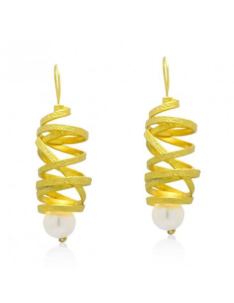 Σκουλαρίκια με μαργαριτάρι χειροποίητα χρυσό AURORA