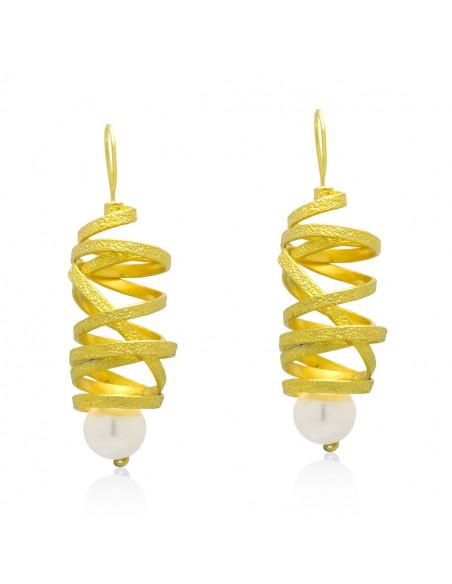 Perlen Ohrringe aus Bronze handgefertigt gold AURORA