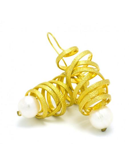 Perlen Ohrringe aus Bronze handgefertigt gold AURORA 3