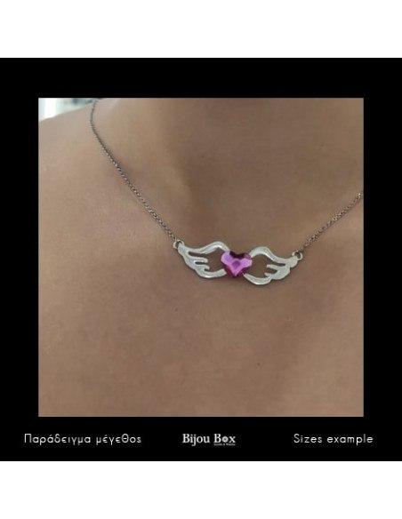 Silberkette mit pinkem Herz Zirkon WING 2