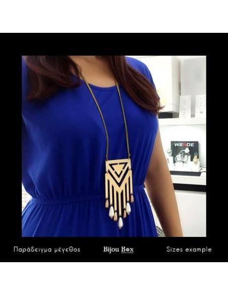 Long Necklace with big bronze pendant gold DER 2