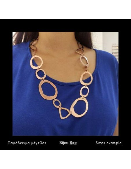 Statement necklace of bronze handmade rose gold LOOPS 2