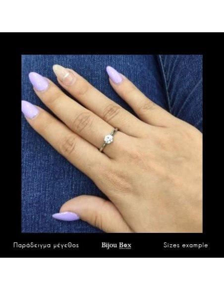 Solitaire ring made of sterling silver with crystal MONO 2