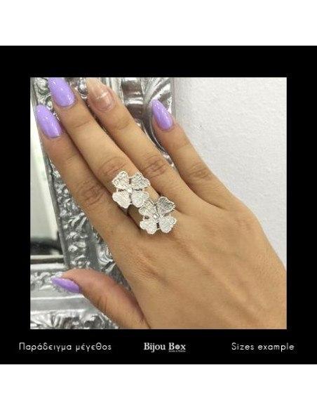 Δαχτυλίδι από μπρούτζο ασημί FLOWERS 2