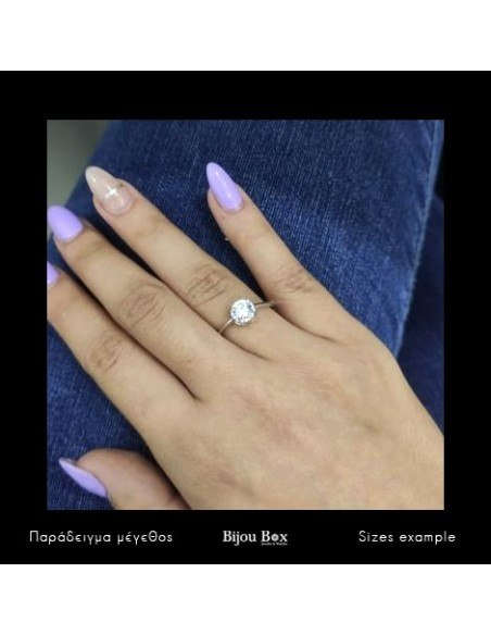 Solitaire ring of sterling silver with crystal MIO 2