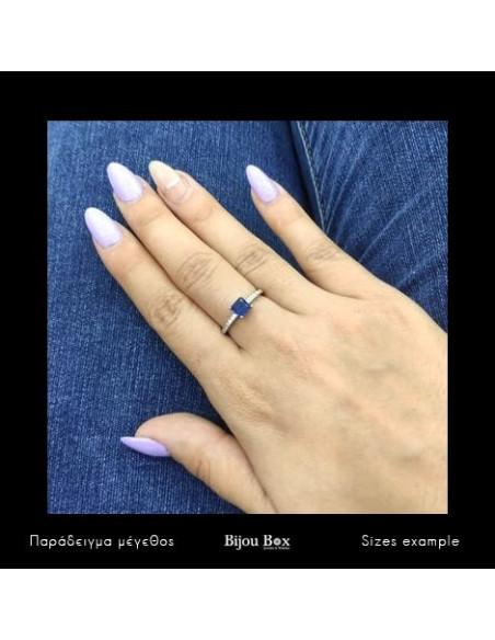 Ασημένιο δαχτυλίδι με μεγάλο μπλέ ζιργκόν BLUE 2
