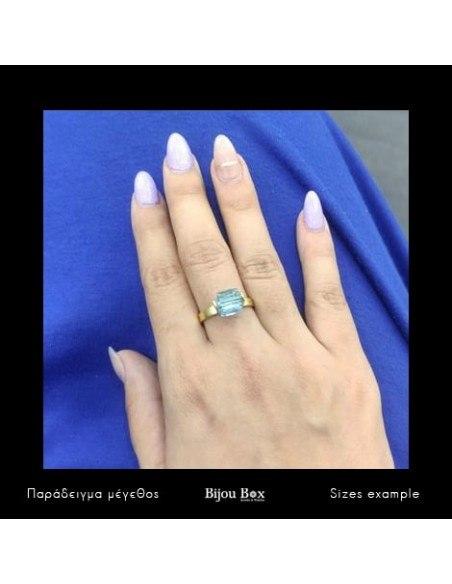 Μονόπετρο δαχτυλίδι από μπρούντζο με μπλέ ζιργκόν χρυσό CUBE 3