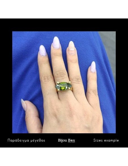 Solitaire ring of bronze with green crystal gold KANA 2