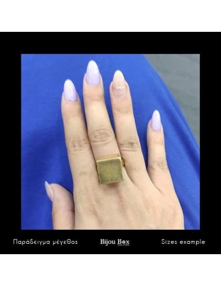Μεγάλο δαχτυλίδι από μπρούτζο χειροποίητο χρυσό KAIRO 2