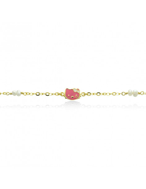 Kid bracelet for girls of silver with pearls gold NITIV