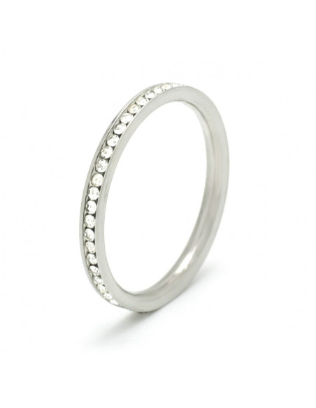 Ring of stainless steel with crystals SEIRA