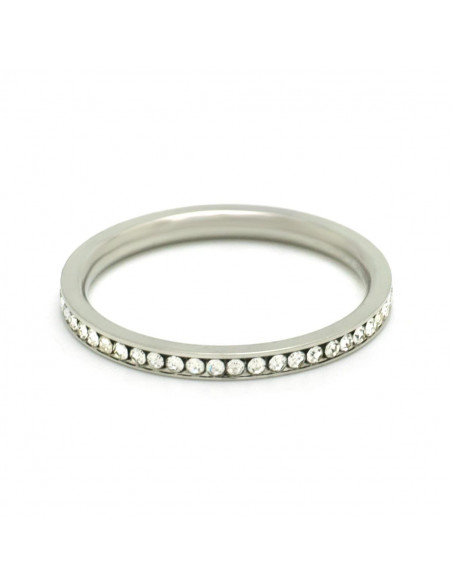 Ring of stainless steel with crystals SEIRA 3