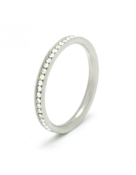 Ring of stainless steel with crystals silver AUMAI