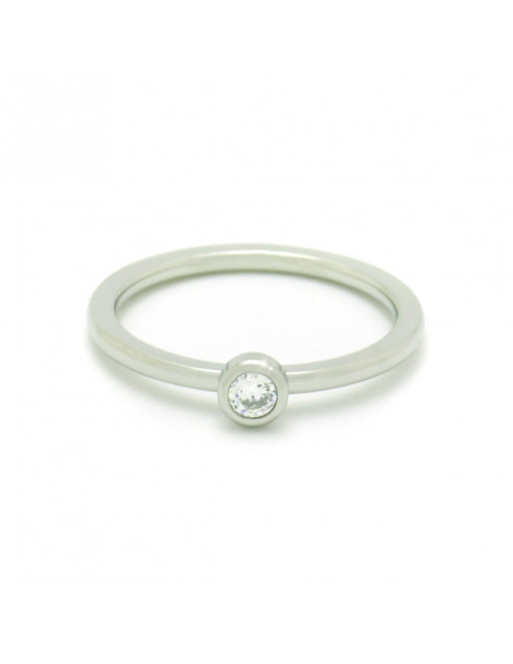 Solitaire Ring with crystal silver VERLUI