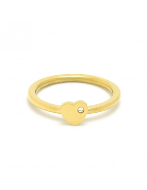 Heart ring of stainless steel with crystal gold DEFIL 2