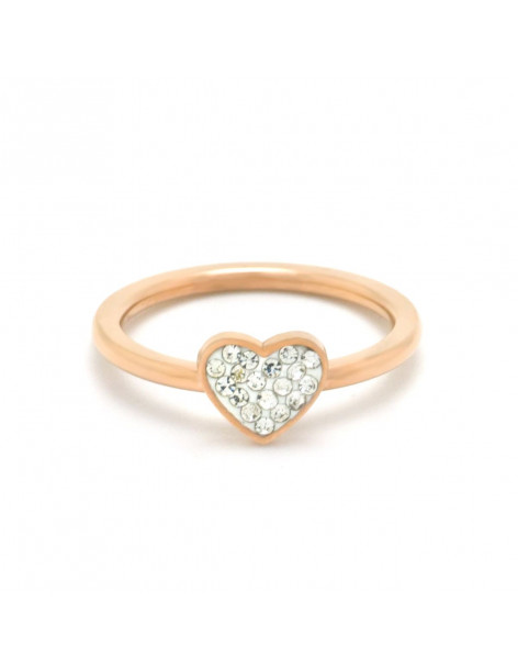 Heart ring of stainless steel with crystals rose gold DALOR
