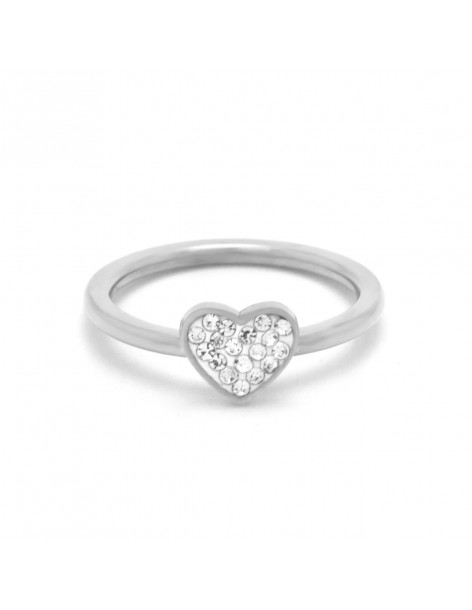 Heart ring of stainless steel with crystals silver DALOR