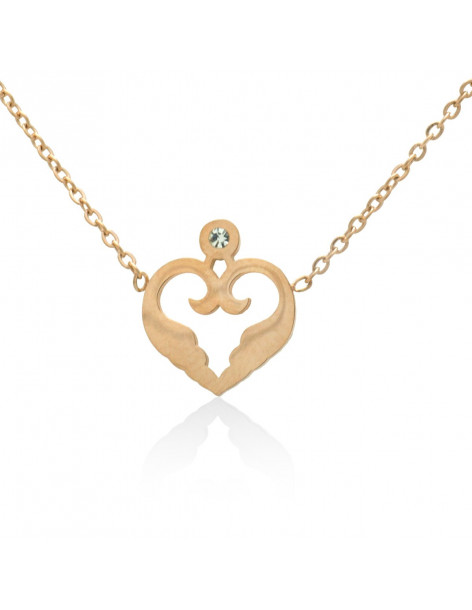 Heart necklace of stainless steel with crystal rose gold MAYAI