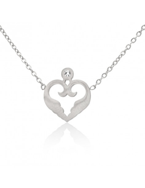 Heart necklace of stainless steel with crystal silver MAYAI