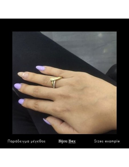 Ring with crystals gold HELENOS 2
