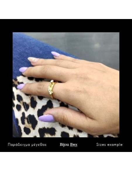 Ring with crystals gold ALEPOU 2