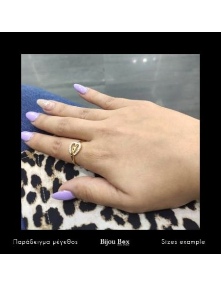 Heart ring with crystals gold KARDOULA 2