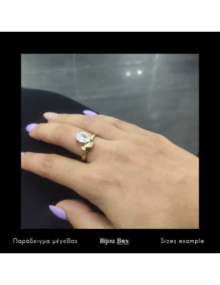Ring with crystal gold HOPE 2