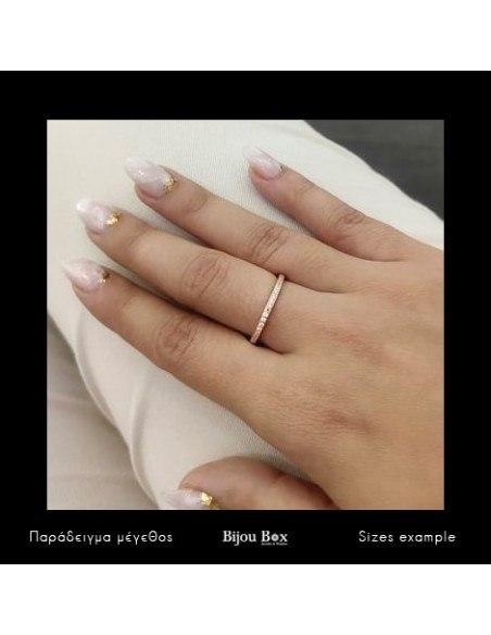 Ασημένιο Δαχτυλίδι με ζιργκόν ροζ χρυσό NESOI 3