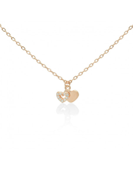 Sterling silver necklace with heart and crystals rose gold BALLIN