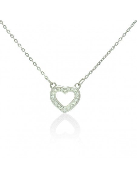 Sterling silver necklace with heart and crystals NESIVE