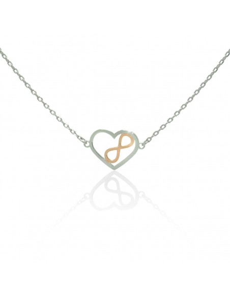 Sterling silver necklace Infinity with heart and crystals LEVOI